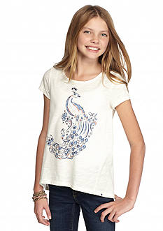 Lucky Brand High Low Peacock Tee Girls 7-16