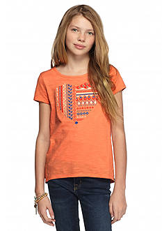 Lucky Brand Embroidered Heart High Low Top Girls 7-16