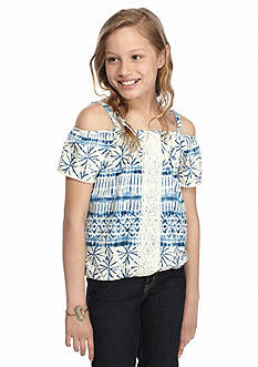 Lucky Brand San Maria Cold Shoulder Top Girls 7-16