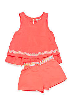 Lucky Brand 2-Piece Tiered Swing Top and Shorts Set Girls 4-6x