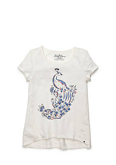 Lucky Brand Peacock Feather Tee Girls 4-6x