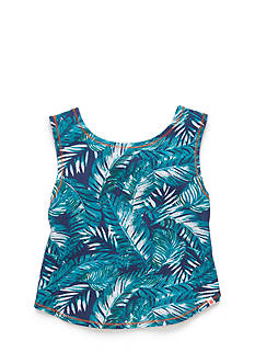 Lucky Brand Palm Print Tulip Back Tank Top Girls 4-6x