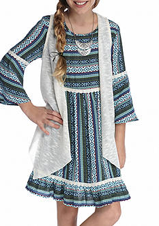 Red Camel Multi Printed Dress with Vest Girls 7-16