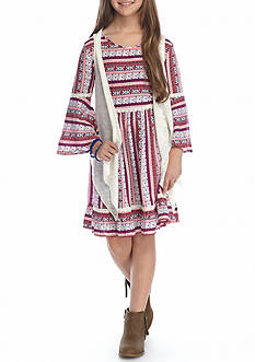 Red Camel® Multi Printed Dress with Vest Girls 7-16