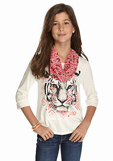 Red Camel® 2-Piece Tiger Tee and Printed Scarf Set Girls 7-16