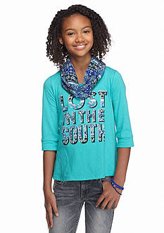 Red Camel® 'Lost In The South' High Low Split Back Top with Scarf Girls 7-16