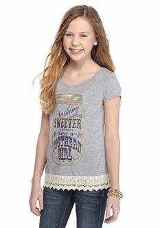 Red Camel® 'Nothing Sweeter' Crochet High Low Top Girls 7-16