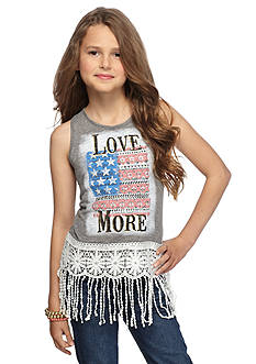 Red Camel 'Love More' Flag Crochet Tank Top Girls 7-16