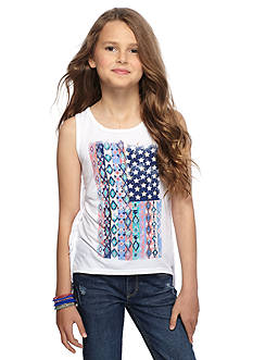 Red Camel® Tribal Printed Flag Fringe Tank Top Girls 7-16