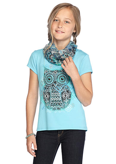 Red Camel® 2Fer Owl Top & Printed Scarf Girls 7-16