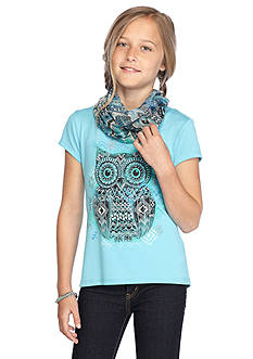 Red Camel 2Fer Owl Top & Printed Scarf Girls 7-16