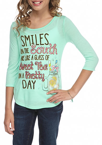 Red Camel® Sweet Tea 3/4 Sleeve Top Girls 7-16