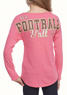 Red Camel® Pink 'It's Football Y'all' Sweeper Tee Girls 7-16