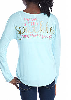 Red Camel® Girls Sparkle Turquoise Sweeper Top