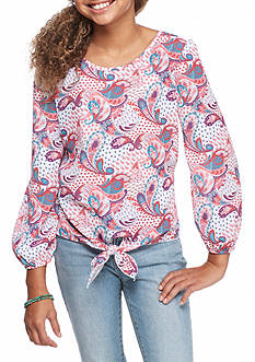 Red Camel Printed Tie Front Top Girls 7-16