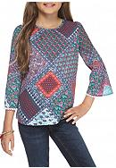 Red Camel® Medallion Printed Peasant Top