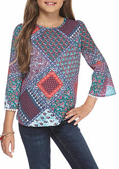 Red Camel® Medallion Printed Peasant Top Girls 7-16