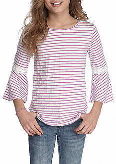 Red Camel Bell Sleeve Stripe Top Girls 7-16