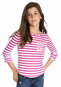 Red Camel® Striped Top with Printed Chiffon Back Girls 7-16