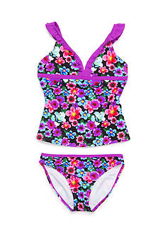 Jessica Simpson 2-Piece Tropical Floral Tankini Girls 7-16