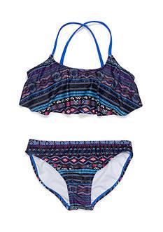 Jessica Simpson 2-Piece Tribal Flounce Bikini Girls 7-16
