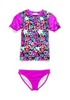 Jessica Simpson 2-Piece Floral Rashguard and Bikini Bottom Set Girls 7-16