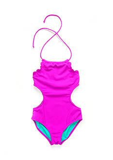 Jessica Simpson 1-Piece Scallop Swimsuit Girls 7-16