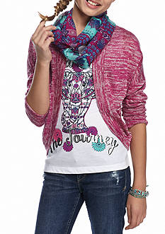 J. Khaki® Cozy Cardigan Sweater and Butterfly Tank with Scarf 2-Piece Set Girls 7-16