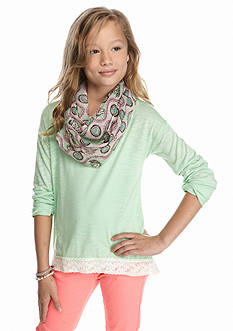 J Khaki™ 2-Piece Lace Trim Top and Horse Scarf Set Girls 7-16