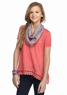 J Khaki™ 2-Piece Shark-Bite Top with Printed Scarf Girls 7-16