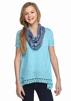 J Khaki™ 2-Piece Shark Bite Top with Printed Scarf Girls 7-16