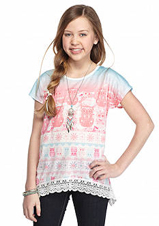 J Khaki™ Owl Crochet Top Girls 7-16