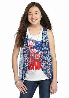 J Khaki™ 2-Piece Floral Tank Top and Sheer Printed Cozy Girls 7-16