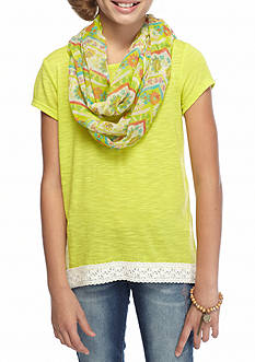 J. Khaki Solid High Low Split Back Top Girls 7-16