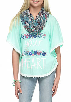 J. Khaki® 'Follow Your Heart' Poncho Girls 7-16