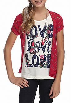 J. Khaki® Love Tank Top with Cardigan 2-Piece Set with Necklace Girls 7-16
