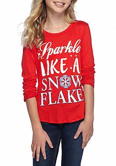 J. Khaki Sparkle Snowflake Top Girls 7-16