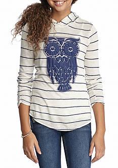 J. Khaki Stripe Owl Hoodie Girls 7-16