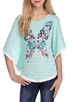 J. Khaki® 2-Piece Butterfly Poncho And Headband Set Girls 7-16