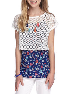 J. Khaki Eyelet Popover Top Girls 7-16