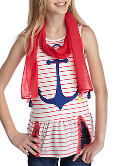 J. Khaki® Anchor Stripe Top with Scarf Girls 7-16
