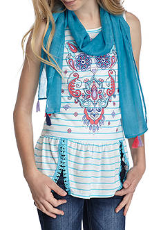 J. Khaki® Medallion Stripe Top with Scarf Girls 7-16