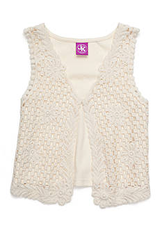 J. Khaki Crochet Vest Girls 4-6x