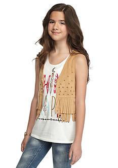 tempted™ 2-Piece 'Think Happy' Tank Top and Fringe Vest Girls 7-16