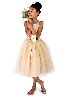 Us Angels® Flower Girl Satin And Tulle Ballerina Dress With Flower- Girls 7-16