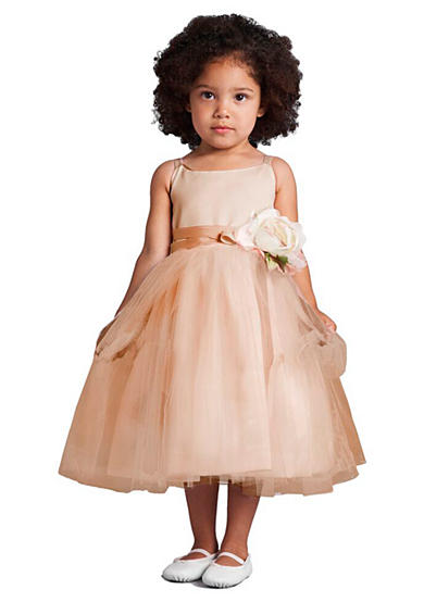 Us Angels Flower Girl Satin And Tulle Ballerina Dress With Flower- Girls 4-6x