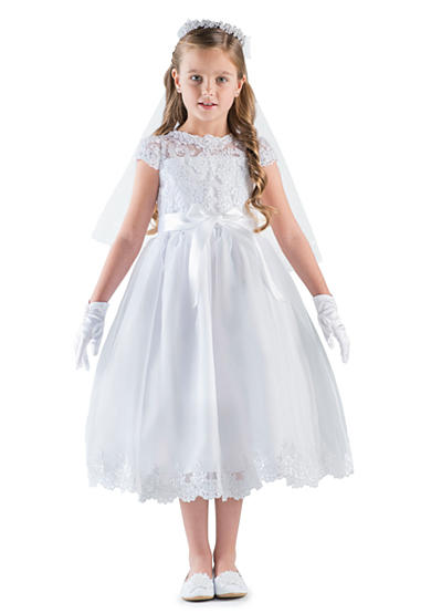 Us Angels Lace And Organza Cap Sleeve Illusion Lace Bodice Communion Dress With Full Skirt And Lace Hem- Girls 7-16