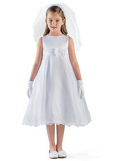 Us Angels® Satin And Organza Sleeveless A-Line Communion Dress With Lace Trim- Girls 7-16