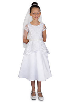 Us Angels® Lace And Satin Cap Sleeve A-Line Dress Bodice & Peplum Dress With Beaded Waist- Girls 7-16