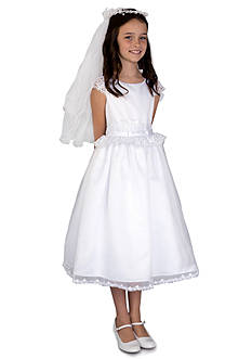 Us Angels® Satin And Organza Lace Cap Sleeve Communion Dress With Lace Inset Waist And Full Skirt- Girls 7-16
